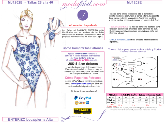 Imagen Catálogo de Patrones de Trajes de Baño, Bikinis, Tanga ...