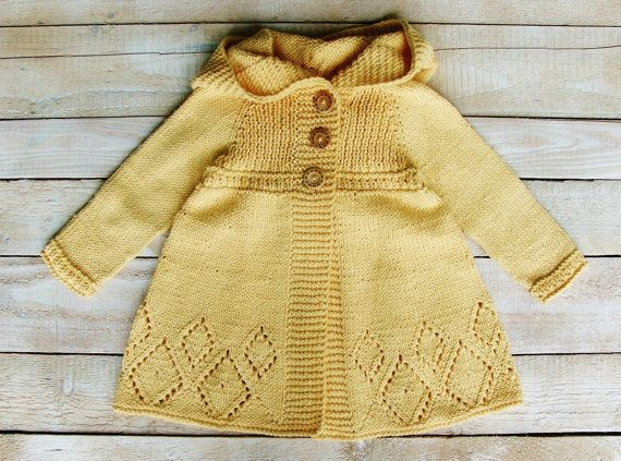 Knitting Jacket For Girl : Toddler girls clothes soft yellow cotton hooded sweater jacket