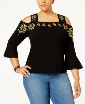 8a0be0bb744c1 INC Plus Size Embroidered Cold-Shoulder Top