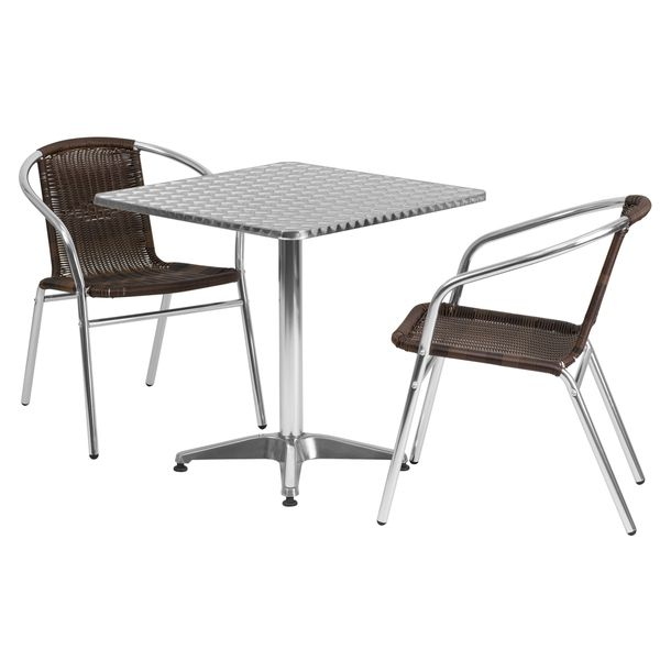 27 5 Foot Square Aluminum Indoor Outdoor Table With 2 Rattan Chairs