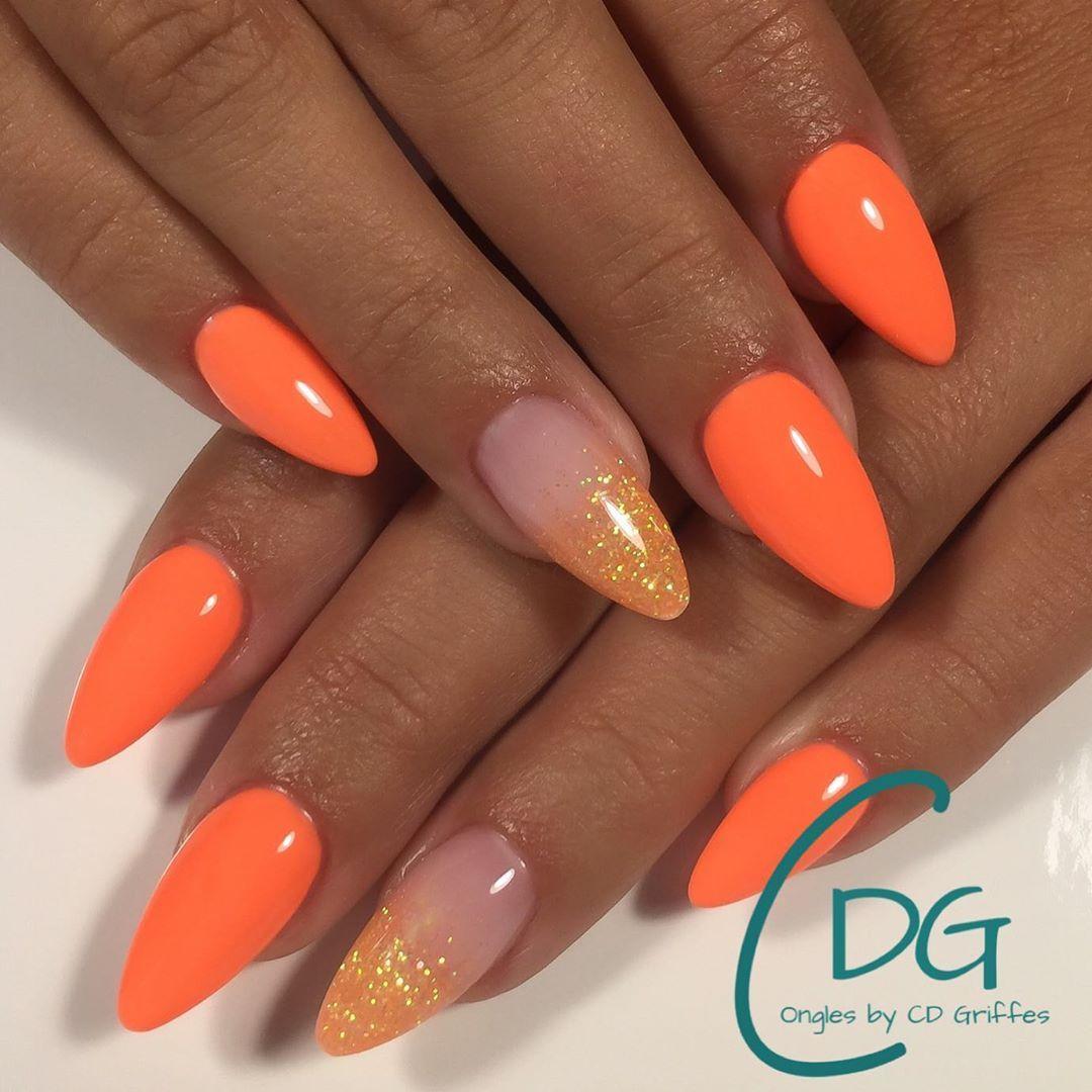 "C.D. Griffes on Instagram: ""Orange 🍊... #nailsshape #nails #nailart #nailsalon #nailtech #nailstyle #nailstylist #nailpro #nailsdid #nailsdesign #nailaddict…"""