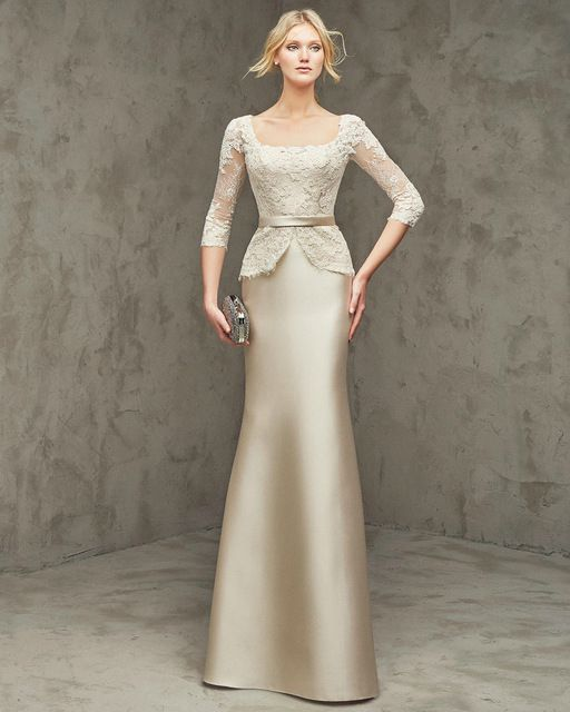 Mother of the Bride Dresses Floor Length Champagne Satin and Lace Three Quarter Sleeves Champagne Mother of the Bride Dresses