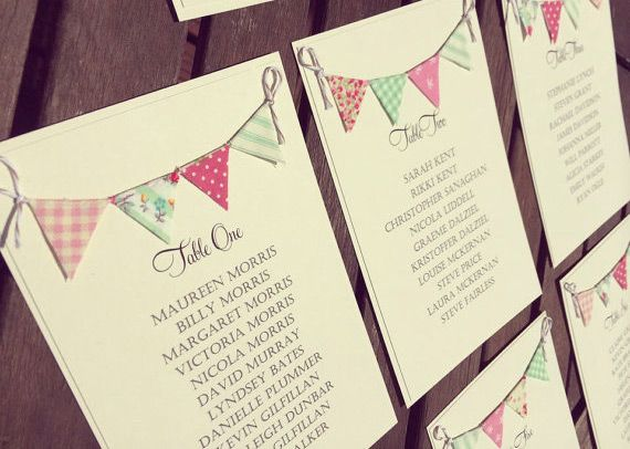 Bunting Table Plan Cards Etsy