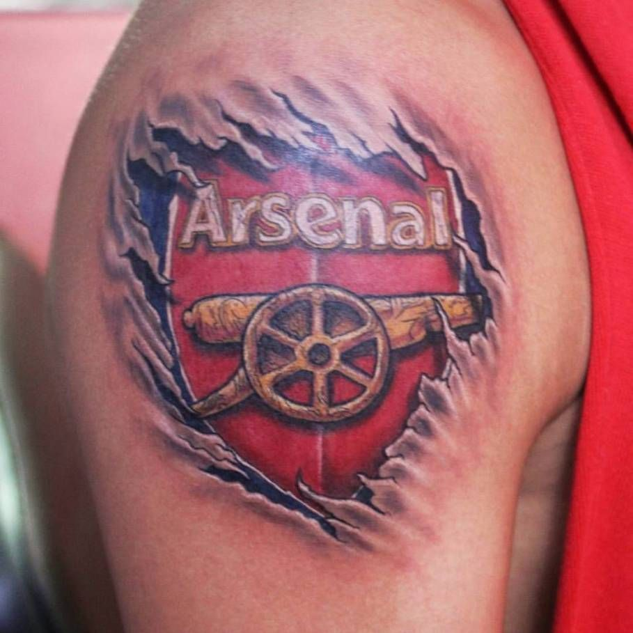 dipu wanted to get a small arsenal logo tattooed at the back of his neck this is what we. Black Bedroom Furniture Sets. Home Design Ideas