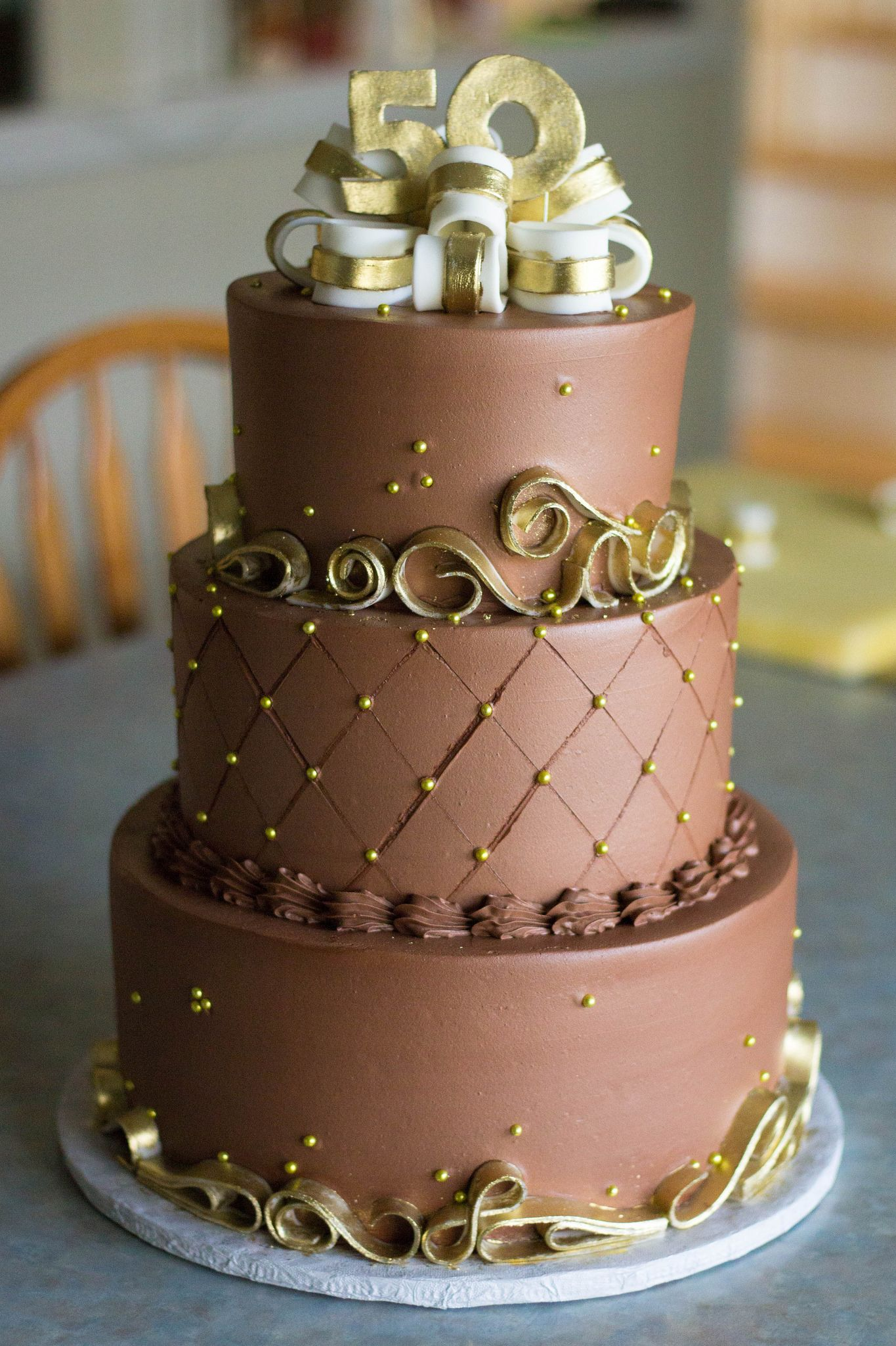 Chocolate Amp Gold 50th Anniversary Cake