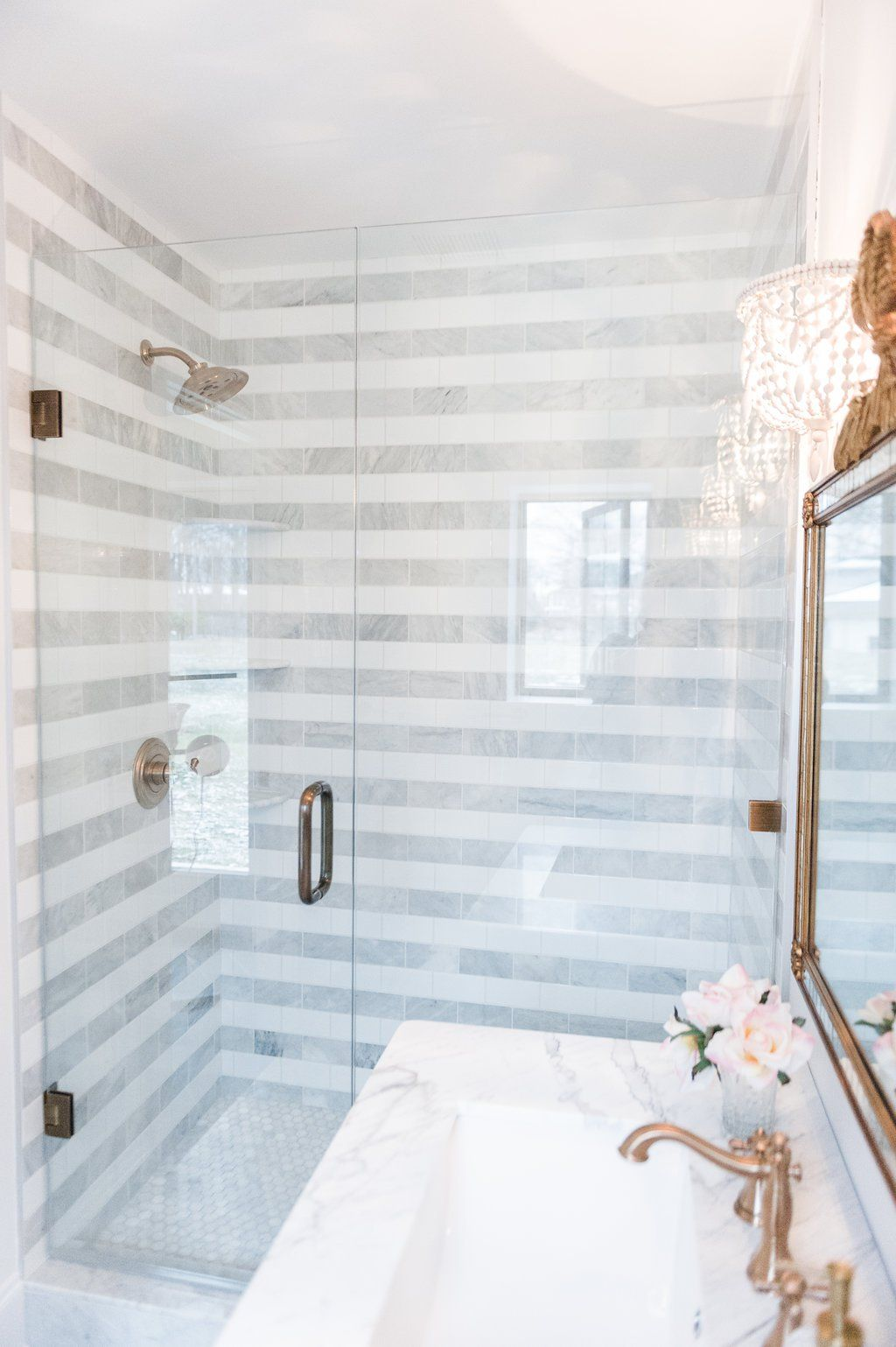 Stripes in the Shower | Centsational Style LOVE THE STRIPES IN THIS ...