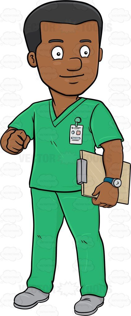 A Dark Haired Male Nurse In Scrubs Holding A Clipboard Nurse Cartoon Male Nurse Nurse