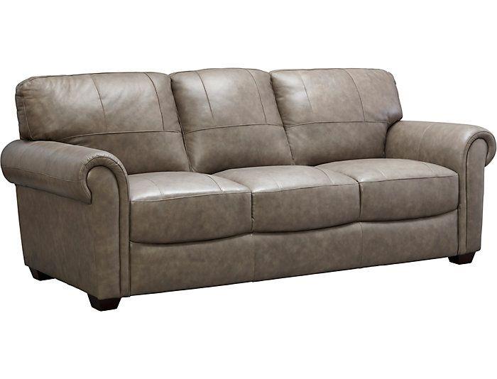 Best Genuine Leather Branson Sofa Grey Large Sofa Grey 400 x 300