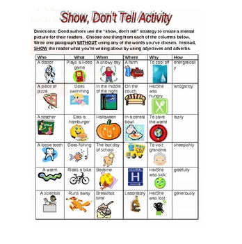Collection of Show Not Tell Worksheet - Bloggakuten | education ...