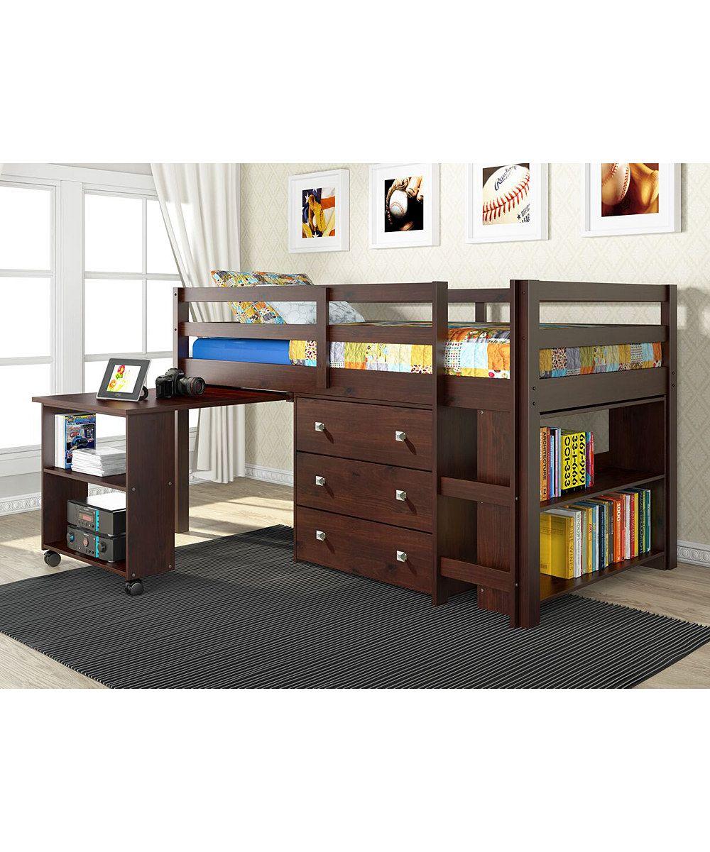 Dark Cappuccino Low Study Loft Twin Bed Low loft beds