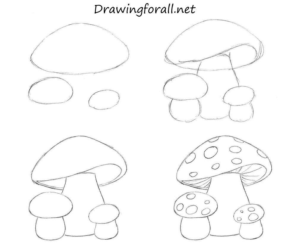 How To Draw Mushrooms For Kids   Mushroom drawing, Easy drawings ...