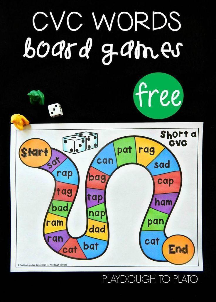 Free CVC Word Board Games   Sprachförderung, Kind und Kita