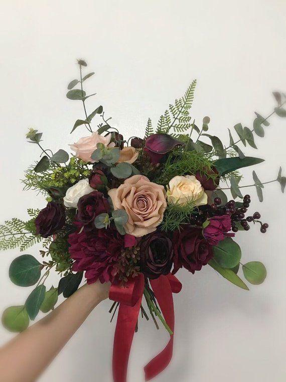 Wedding Bouquets, Bridal Bridesmaids Bouquets, Winter Wedding Bouquet, Blush Burgundy Beige,Wine,Dee #fantasticweddingbouquets