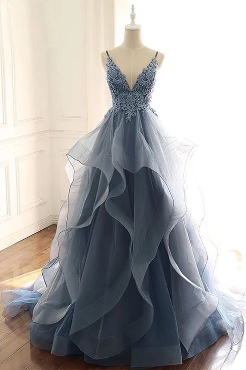 Spaghetti Straps Blue Gray Tulle V Neck Long Ruffles Prom Dresses with Lace Applique P1225 #formaldresses