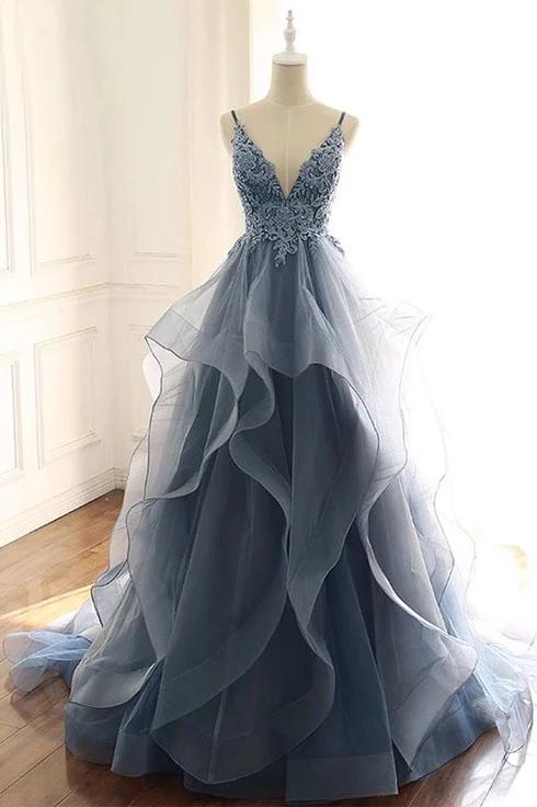 Photo of Spaghetti Straps Blue Gray V Neck Ruffles Lace Applique Prom Dresses – PromDre…