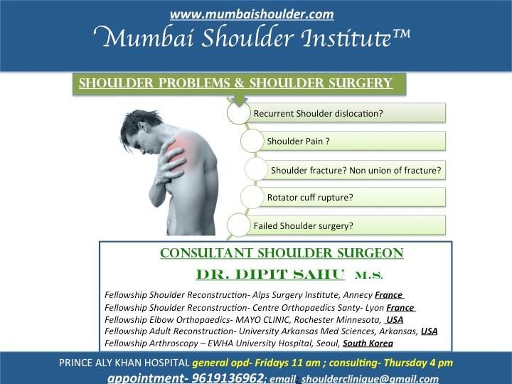 Dr. Dipit Sahu is a shoulder surgeon for rotator cuff treatment and shoulder pain treatment. He has founded Mumbai Shoulder Institute which provides treatment of shoulder problems......http://mumbaishoulder.com/