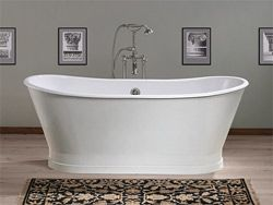 This 68 Inches Double Ended Pedestal Bathtub 2124w By Cheviot Features Brand New Traditional Porcelain Over Cas Cast Iron Tub Traditional Bathtubs Pedestal Tub