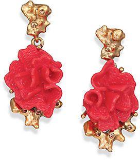 Oscar De La A C Flower Clip On Drop Earrings Style Au