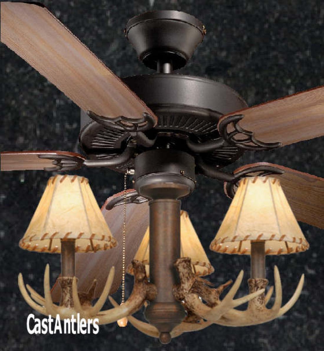 52 Rustic Ceiling Fan W Antler Light Kit Check W Norm Re Size On Down Rod Rustic Ceiling Fan Antler Lights Ceiling Fan