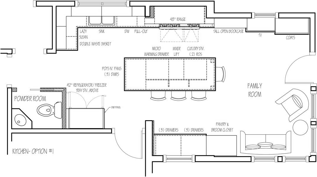 Floor Plan Option 1 The Sketch Designer Who Make Whole House Kitchen Solution With Enorgomic Me Modern Kitchen Plans Kitchen Remodel Layout Small Kitchen Plans