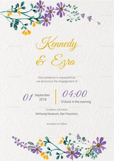 Garden Engagement Announcement Card Template Engagement Announcement Cards Indian Wedding Invitation Cards Engagement Announcement
