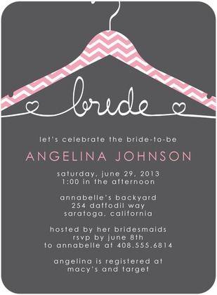 Pink Chevron Hanger Bridal Shower Invites From Wedding Paper Divas