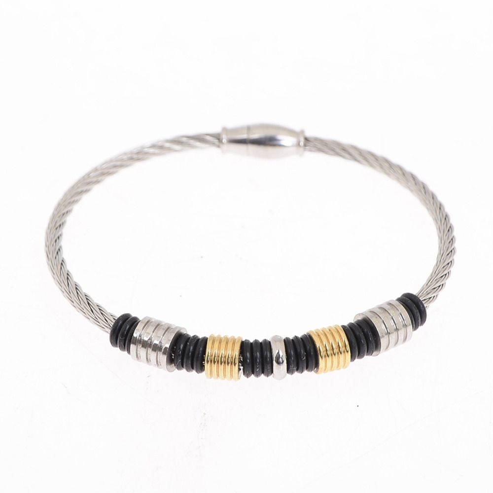 Click to buy ucuc simple design stainless steel wire braid bead bangle