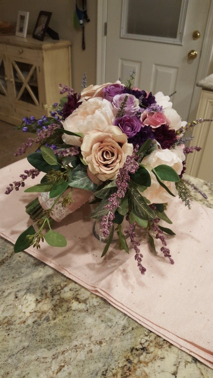 Bridal Bouquet In Purple And Blush From Hen House Designs