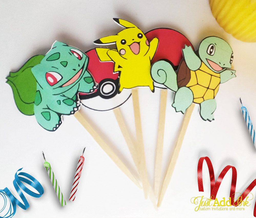 Pokemon Cupcake Toppers / Pokemon Go / Pokemon Trainer Party ...