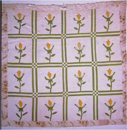 """Anna's Irish Tulip"" Appliquéd Quilt ca. 1840-1845 Made by Narcissa Caroline Walker Lamb in Jefferson County, FL"