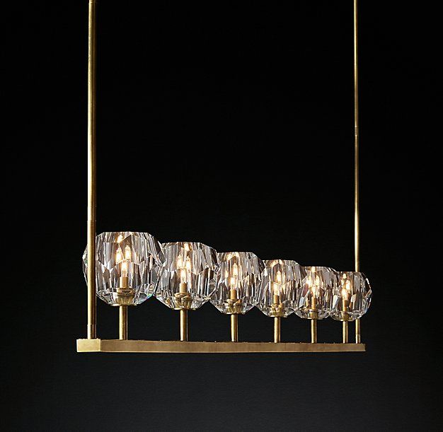Rh moderns boule de cristal linear chandelier 60crafted of solid brass and crystal