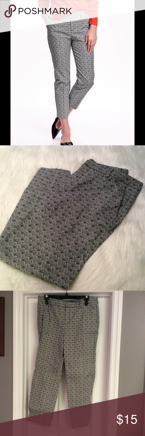 Old Navy Black and White Print Harper Ankle Pants Worn once! Beautiful print! Old Navy Pants Ankle & Cropped