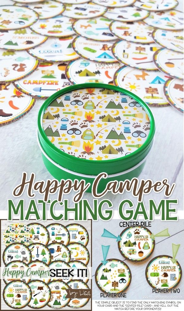 Photo of Happy Camper Seek It – Printable Matching Game! (My Computer is My Canvas)