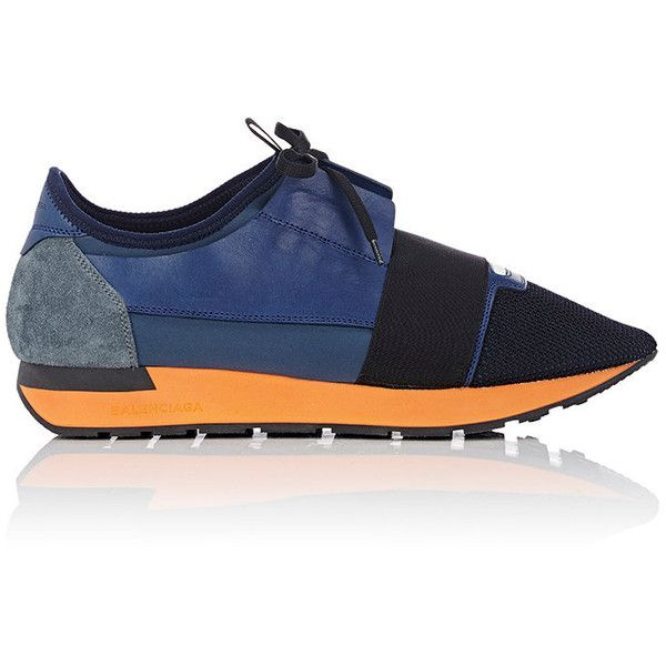 "Balenciaga Men's ""Race Runner"" Sneakers ($645) ❤ liked on Polyvore featuring men's fashion, men's shoes, men's sneakers, sneakers, navy, mens lace up shoes, mens low top shoes, navy blue mens shoes, men's low top sneakers and mens round toe shoes"