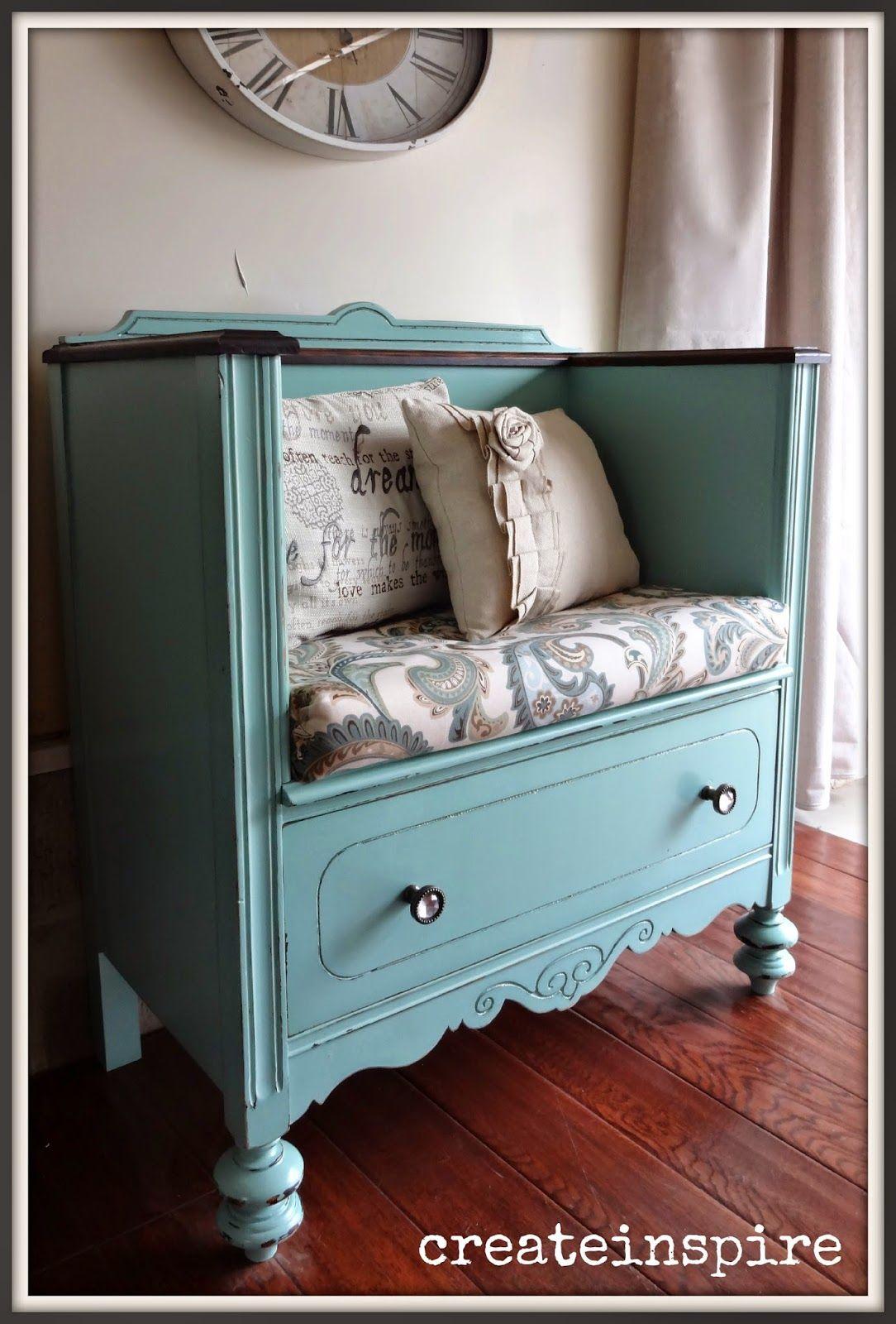 Createinspire dresser turned bench muebles muebles muebles restaurados y muebles reciclados - Sillones antiguos restaurados ...
