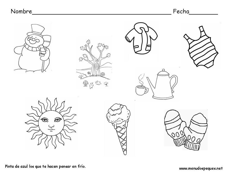 Material Para El Aula 4 Estaciones Del Ano Maestra Infantil Az Dibujos Para Colorear Fichas Invierno Actividades De Invierno