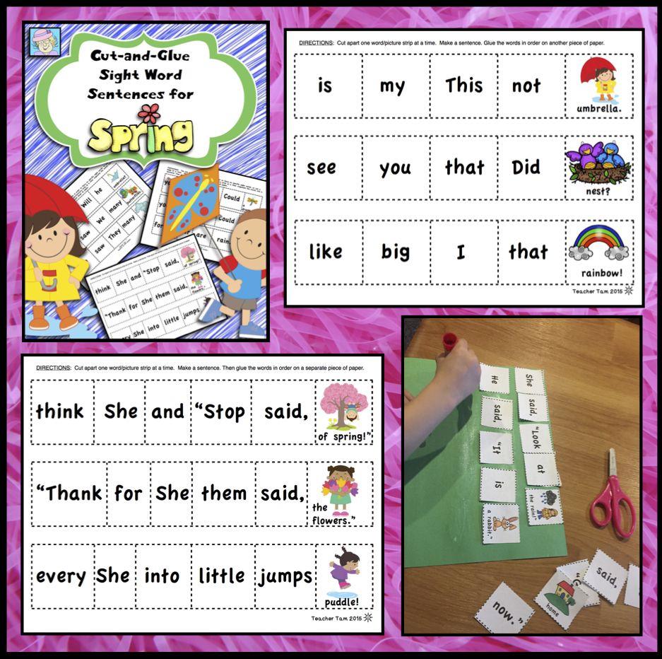 Spring Activities 1st Grade Kindergarten Sight word