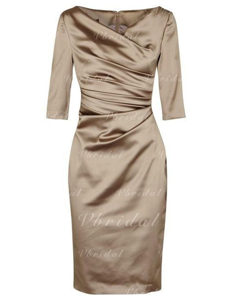 Sheathcolumn vneck kneelength satin mother of the bride dress