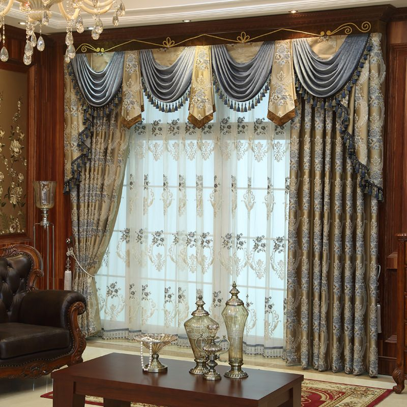 Discount custom luxury window curtains drapes valances for Old world curtains and drapes