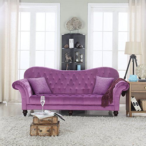 Classic Tufted Velvet Victorian Sofa Purple Details Can Be