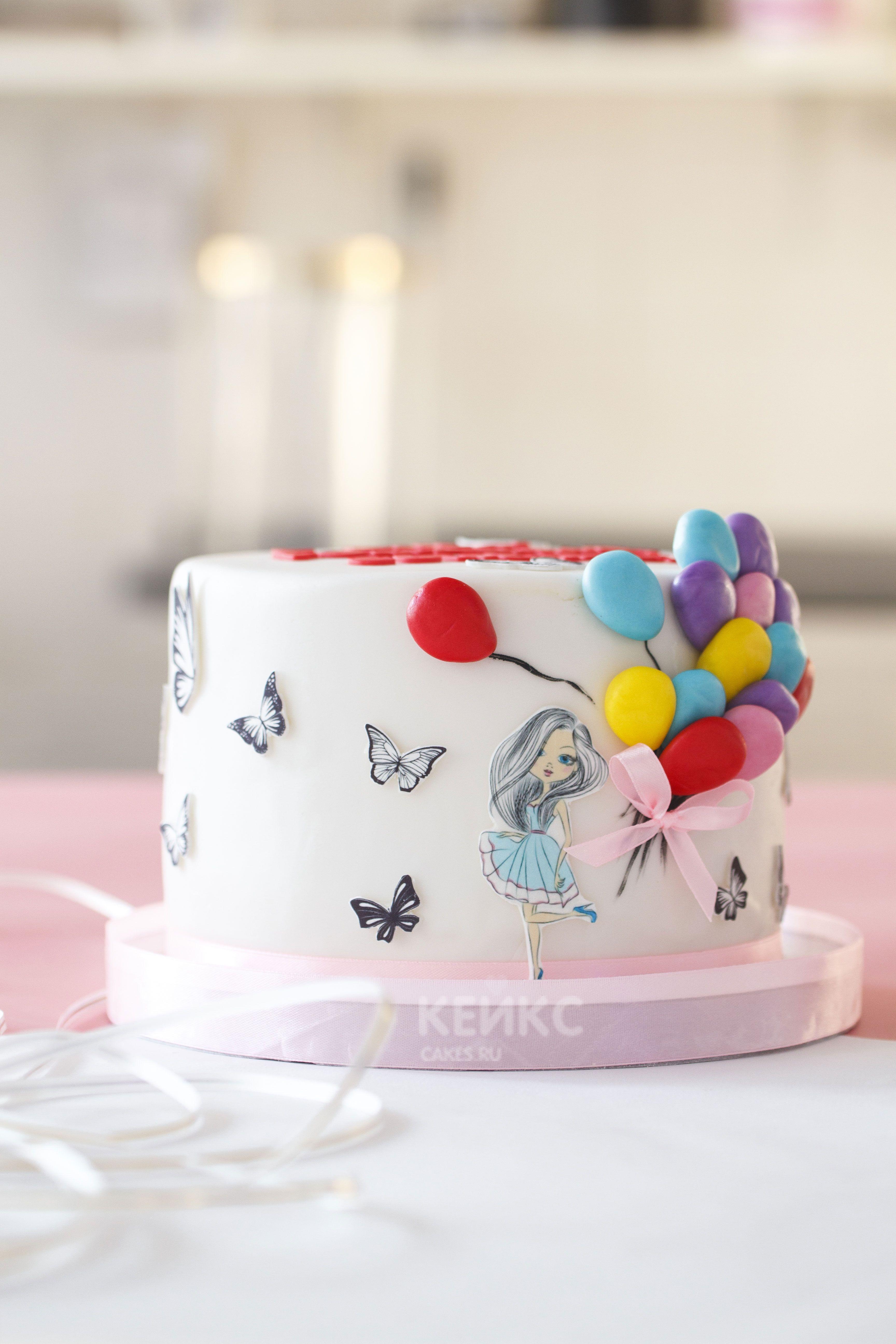 Детский торт девочка принцесса с розовыми шариками ...