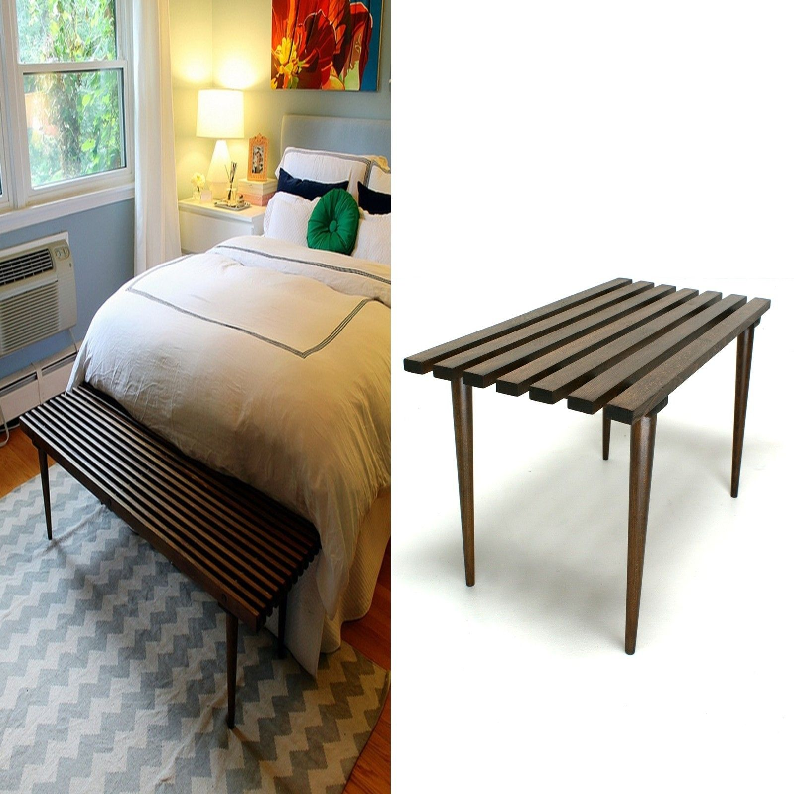MCM slat bench coffee table $169 Waterford