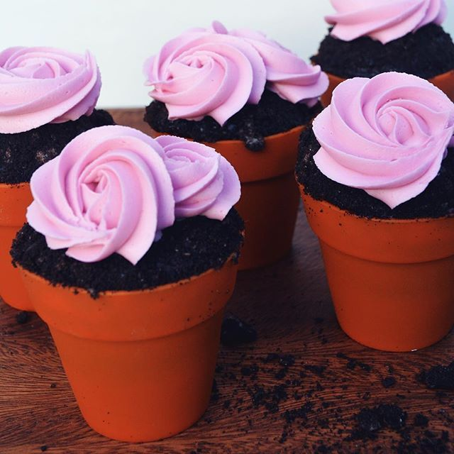 Chocolate Rose Flower Pots- The perfect dessert for #Spring! I love how realistic looking these Wilton terra cotta pot silicone baking cups are. These would be the cutest centerpiece for a tea or luncheon, or such a perfect party favor! Shop the link in @wiltoncakes profile for the pots and to get the project instructions. -- @laurenlowstan
