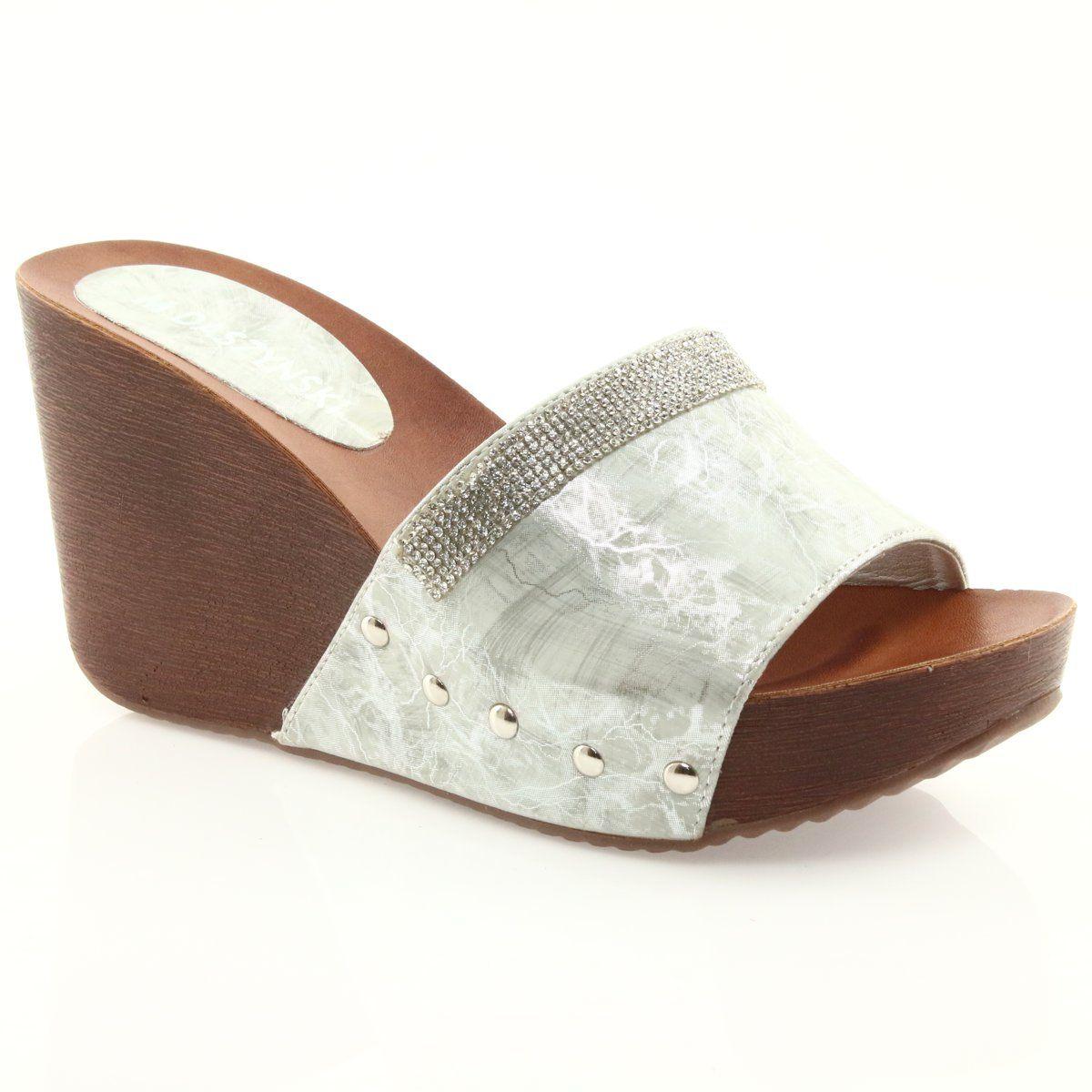 Klapki Na Koturnie Daszynski Am43 Z Cyrkoniami Szare Slip On Sandal Shoes Sandal Espadrille