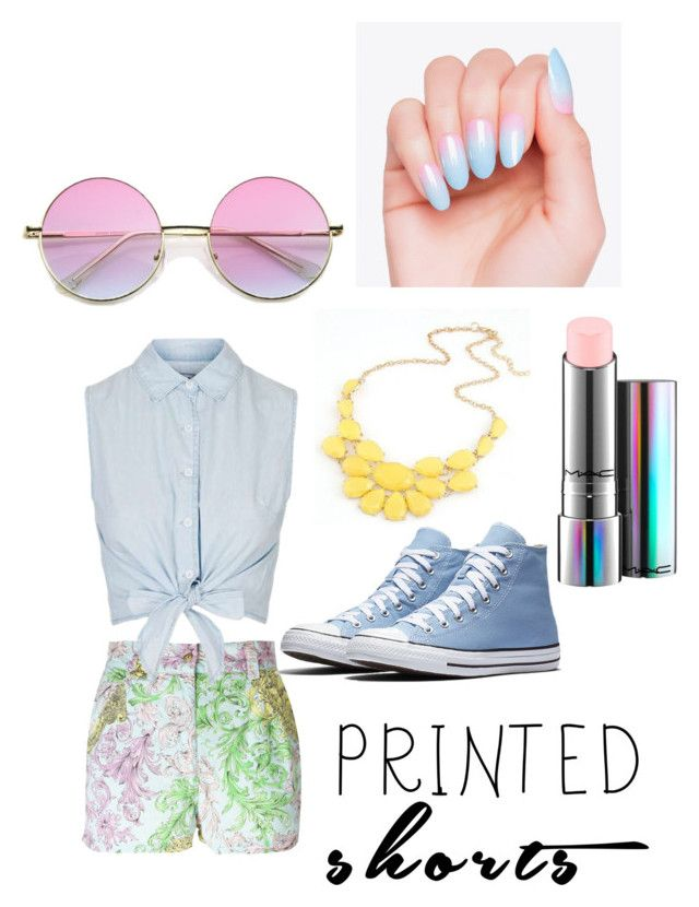 """Pastel Color"" by ilovenailpolish-ej on Polyvore featuring Versace, Topshop, MAC Cosmetics and printedshorts"