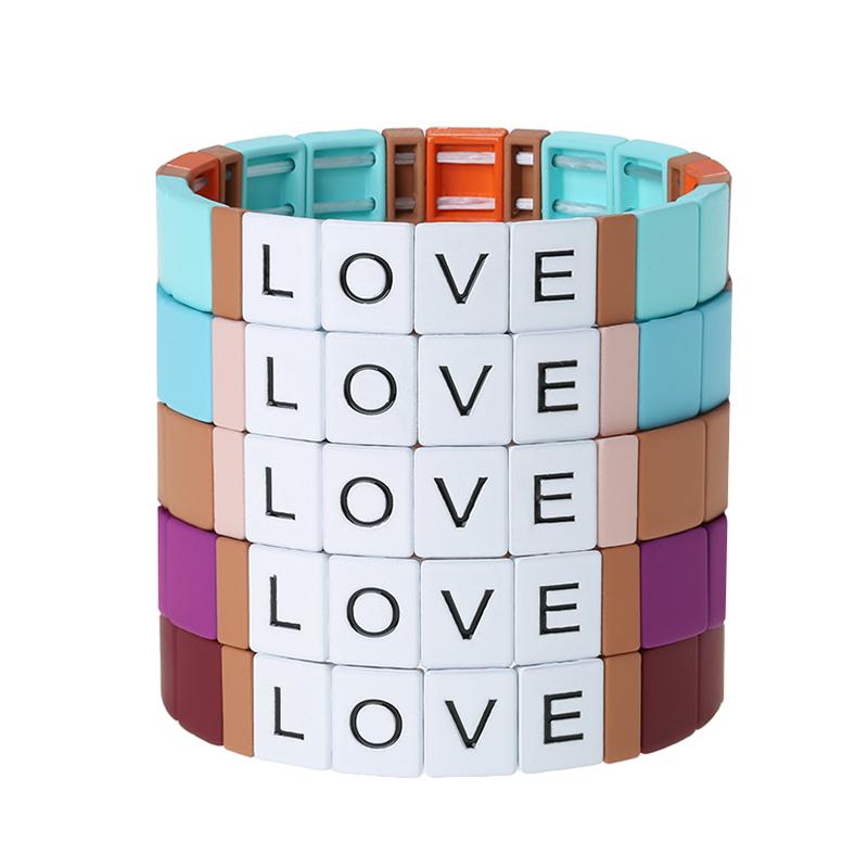 enamel stretch tile bead bracelet