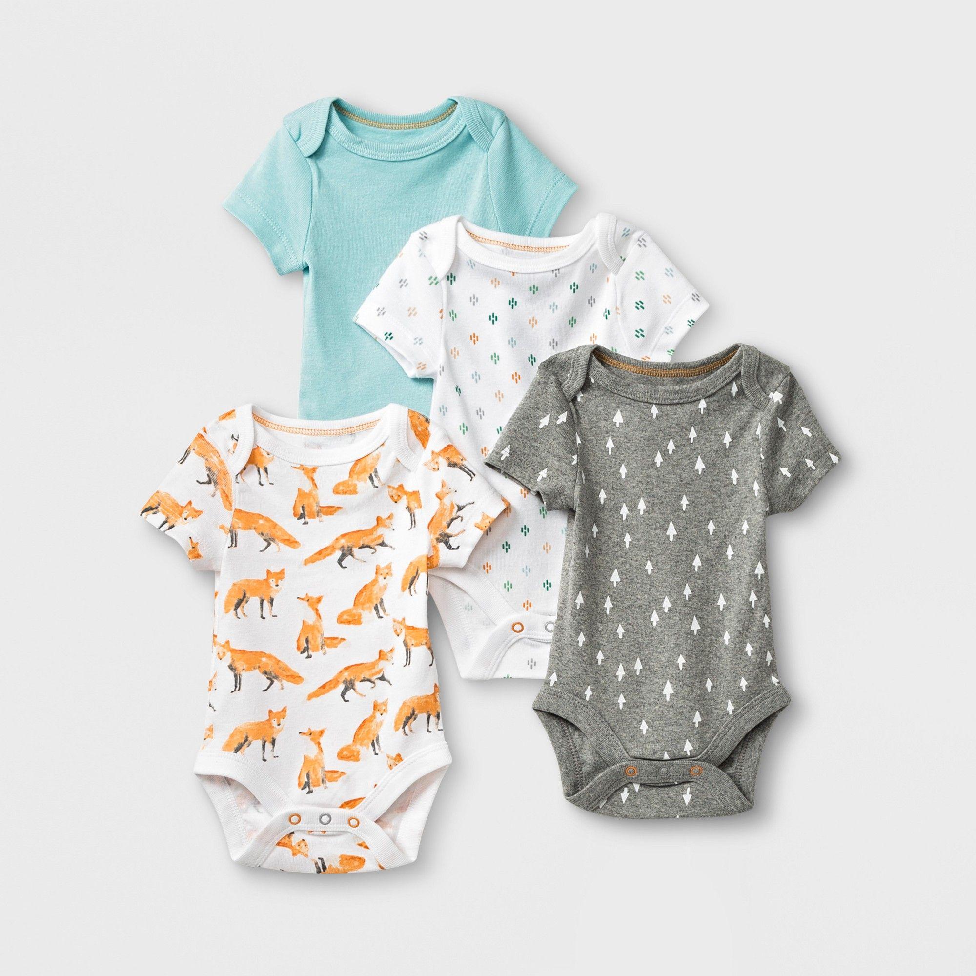 9b7c8bfc9 Baby 4pk Short Sleeve Bodysuit - Cloud Island Newborn, Newborn Unisex,  Multicolored