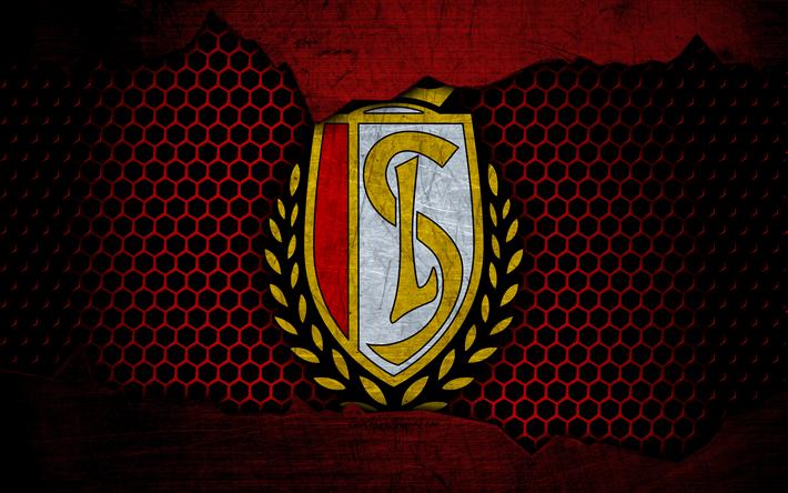 Download wallpapers Standard, 4k, logo, ESL Pro League, soccer, football club, Belgium, grunge, Standard RSCL, metal texture, Standard FC