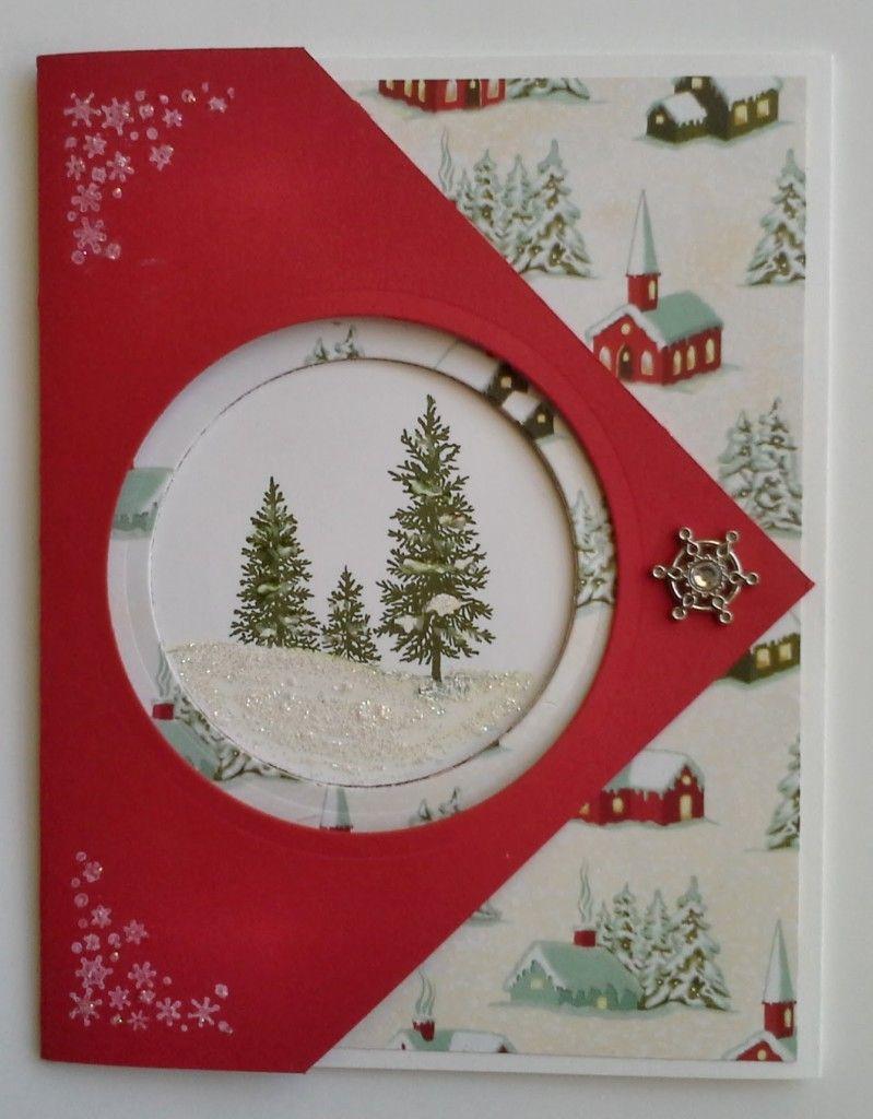 fancy fold happy scenes christmas card  christmas cards