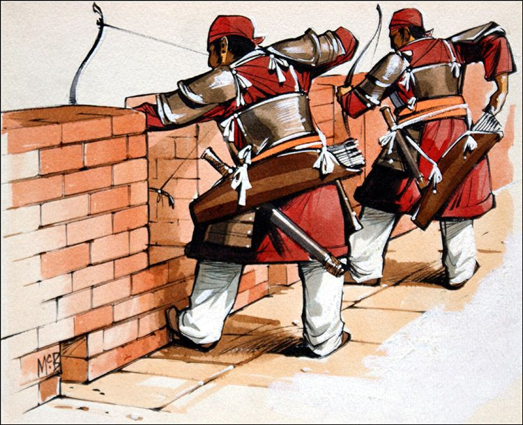 archers defending the great wall of china original on the great wall of china id=56880